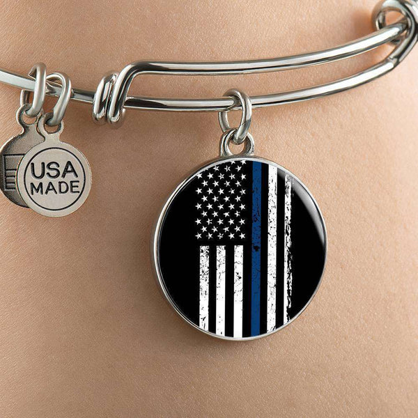 Stainless Circle Pendant Bangle-Thin Blue Line Apparel-RhinocerosX