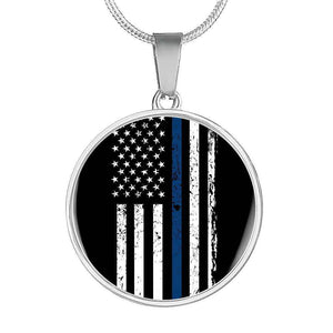 Stainless Circle Pendant With Snake Chain-Thin Blue Line Apparel-RhinocerosX