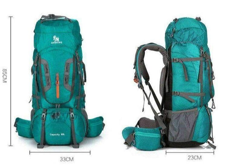 Size Dimensions For The Best 80L Hiking Backpack For Outdoorsman- Color Green - RhinocerosX