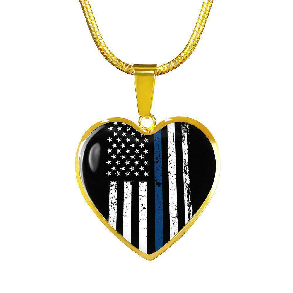 Thin Blue Line - Engraved Gold Heart Pendant With Snake Chain-Thin Blue Line Apparel-RhinocerosX