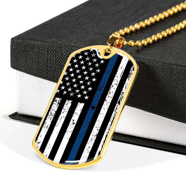 Thin Blue Line Gold Plated Dog Tag Pendant On A Ball Chain-Thin Blue Line Apparel-RhinocerosX