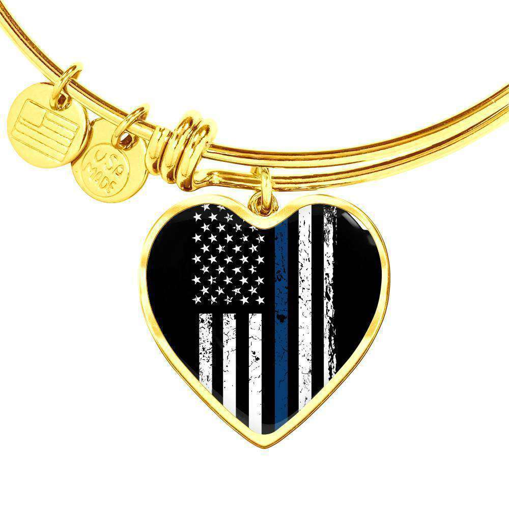 Thin Blue Line Heart Pendant Bangle Gold Plated & Custom Engraved-Thin Blue Line Apparel-RhinocerosX