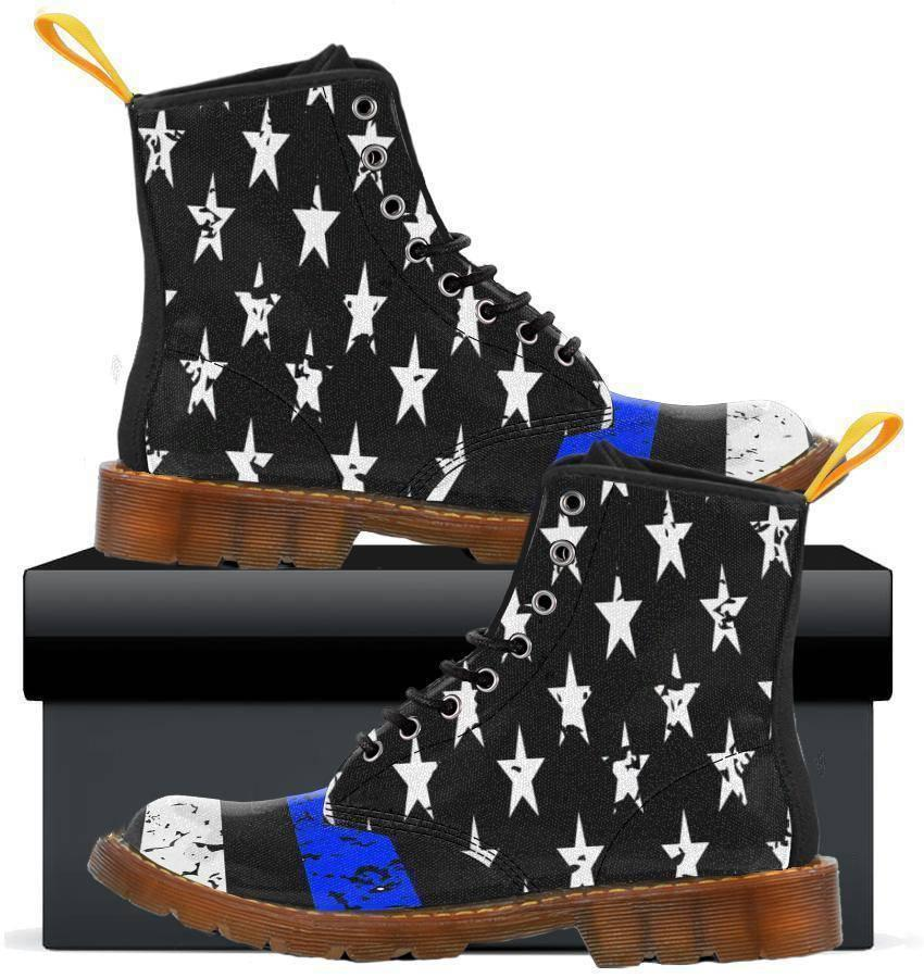 Thin Blue Line - Womens Canvas Boots-Thin Blue Line Apparel-RhinocerosX