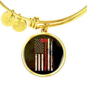 Thin Red Line - Custom Engraved Gold Circle Pendant Bangle-Thin Red Line Apparel-RhinocerosX