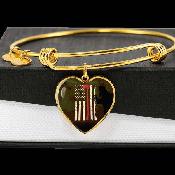 Thin Red Line - Custom Engraved Gold Heart Pendant Bangle-Thin Red Line Apparel-RhinocerosX