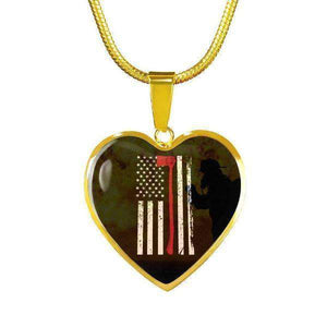 Thin Red Line - Custom Engraved Gold Heart Pendant & Snake Chain