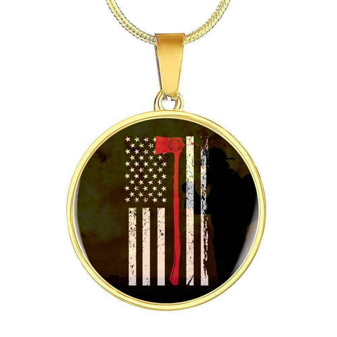 Engraved Gold Plated Circle With Pendant Snake Chain-Thin Red Line Apparel-RhinocerosX