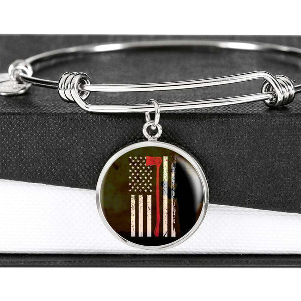 Thin Red Line - Custom Engraved Stainless Circle Pendant Bangle-Thin Red Line Apparel-RhinocerosX