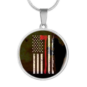 Thin Red Line - Custom Engraved Stainless Circle Pendant & Snake Chain-Thin Red Line Apparel-RhinocerosX