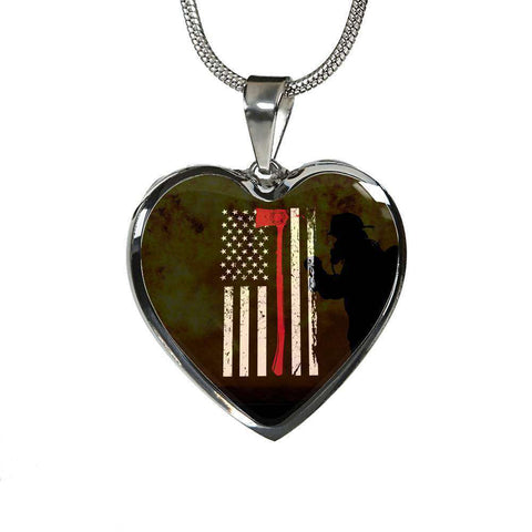 Engraved Stainless Heart Pendant With Snake Chain-Thin Red Line Apparel-RhinocerosX