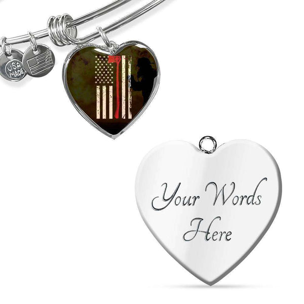 Thin Red Line - Custom Engraved Stainless Steel Heart Pendant Bangle-Thin Red Line Apparel-RhinocerosX