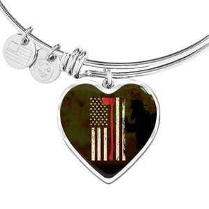 Thin Red Line - Custom Engraved Stainless Steel Heart Pendant Bangle