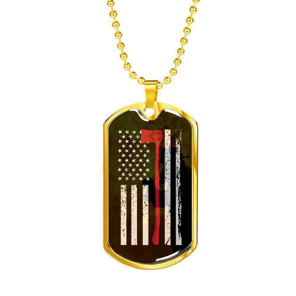 Gold Dog Tag Pendant With Ball Chain-Thin Red Line Apparel-RhinocerosX