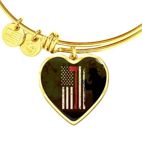 Gold Heart Pendant Bangle-Thin Red Line Apparel-RhinocerosX