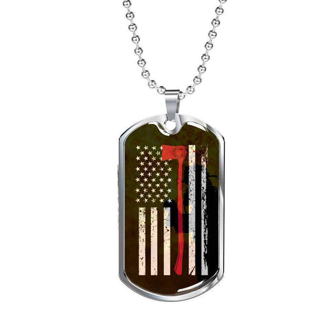 Stainless Dog Tag Pendant With Ball Chain-Thin Red Line Apparel-RhinocerosX