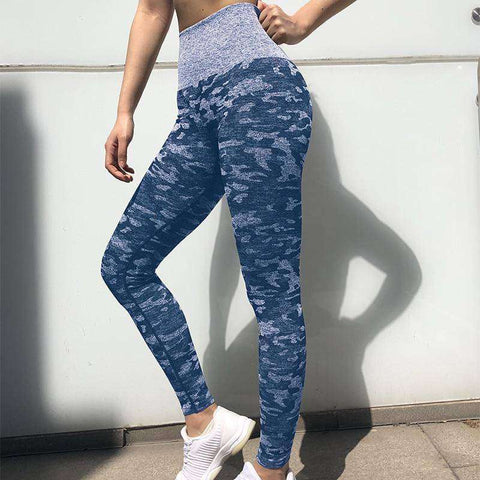 Women's Sexy & Popular Design: Trendy Blue Camo Yoga Pants!-RhinocerosX