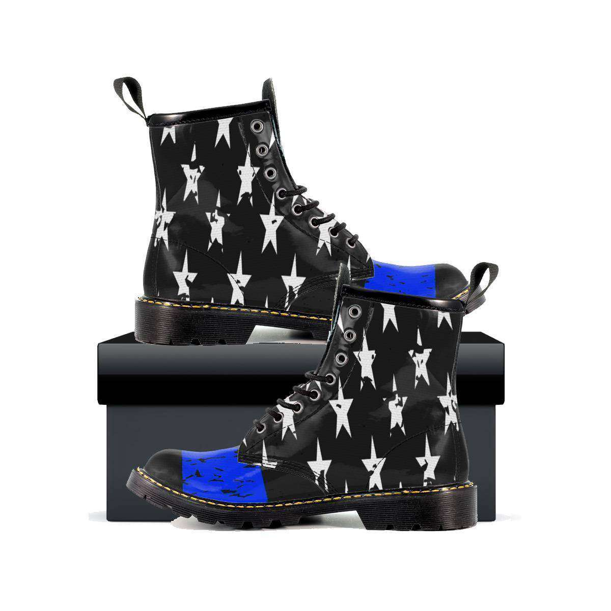 Women's Thin Blue Line Leather Boots-Thin Blue Line Apparel-RhinocerosX