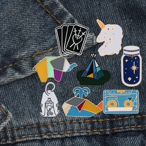 Cat Dinosaur Whale Rabbit Horse Astronaut Poker Bread Wishing Bottle Enamel Pin Brooch Denim Collar Badge Pins