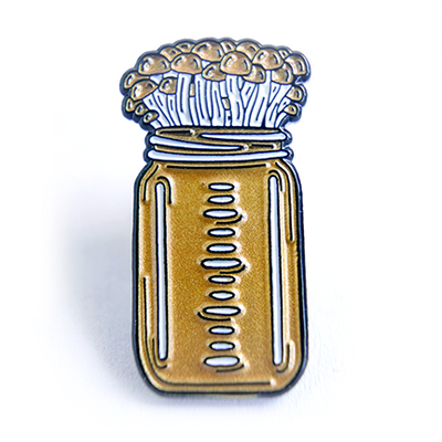 Mushroom Bottle Culture Enamel Pin - Chthaeus Press