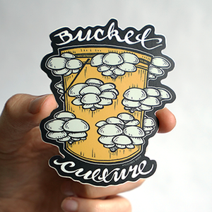 Mushroom Bucket Culture Die Cut Sticker - Chthaeus Press