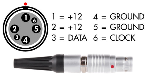 red 6pin lemo 1b female power cable connector