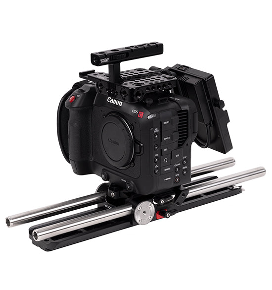 professional v-mount canon c70 accessory kit from wooden camera
