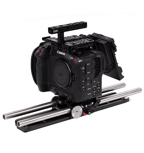 professional gold mount canon c70 accessory kit from wooden camera