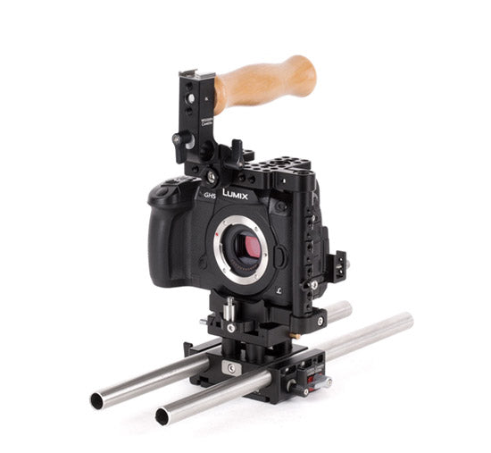 basic panasonic gh5, panasonic gh4, and panasonic gh3, dslr camera support package & accessories from wooden camera