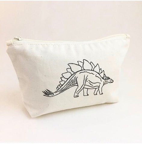 Dinosaur print cotton wash bag with zip fastening, Stegosaurus print