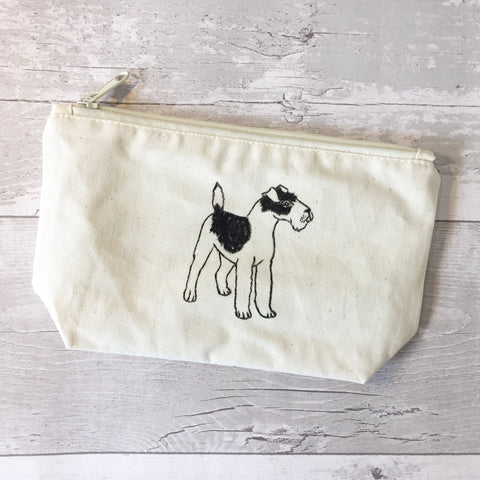 Welsh terrier print wash bag, wire fox terrier makeup bag