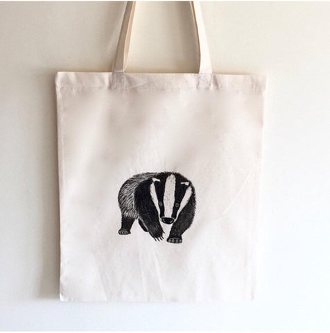 Badger print cotton tote bag, hand printed shopper bag.