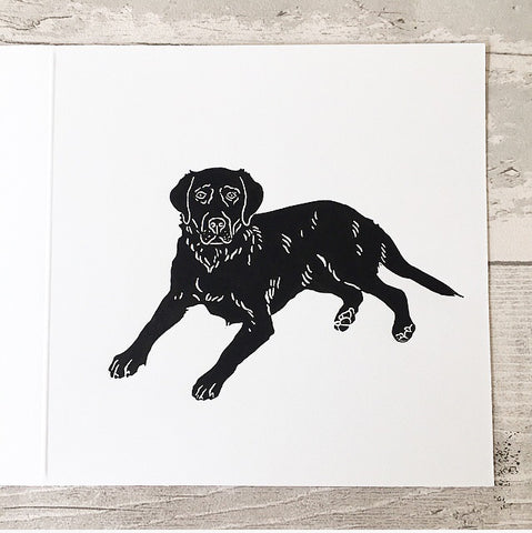Black Labrador greetings card - black lab print