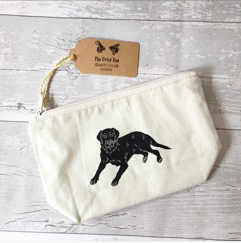 black labrador print makeup bag