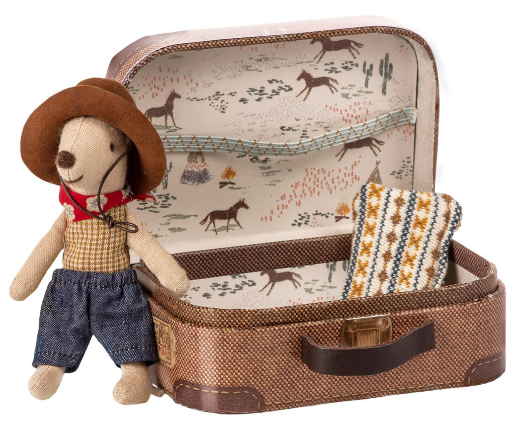 COWBOY IN SUITCASE, LITTLE BROTHER MOUSE maileg
