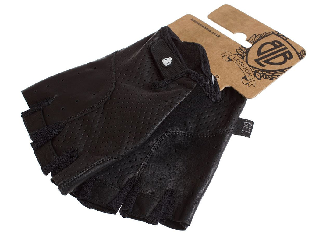 CLASSIC SPORT LEATHER CYCLING GLOVES - BLACK