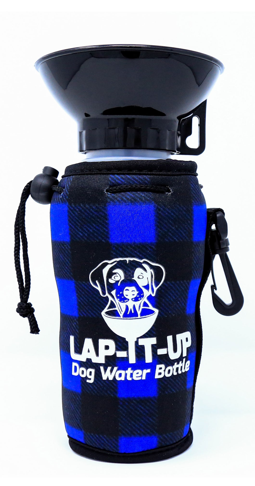 Lap-It-Up Dog Water Bottle - Plaid - Blue & Black