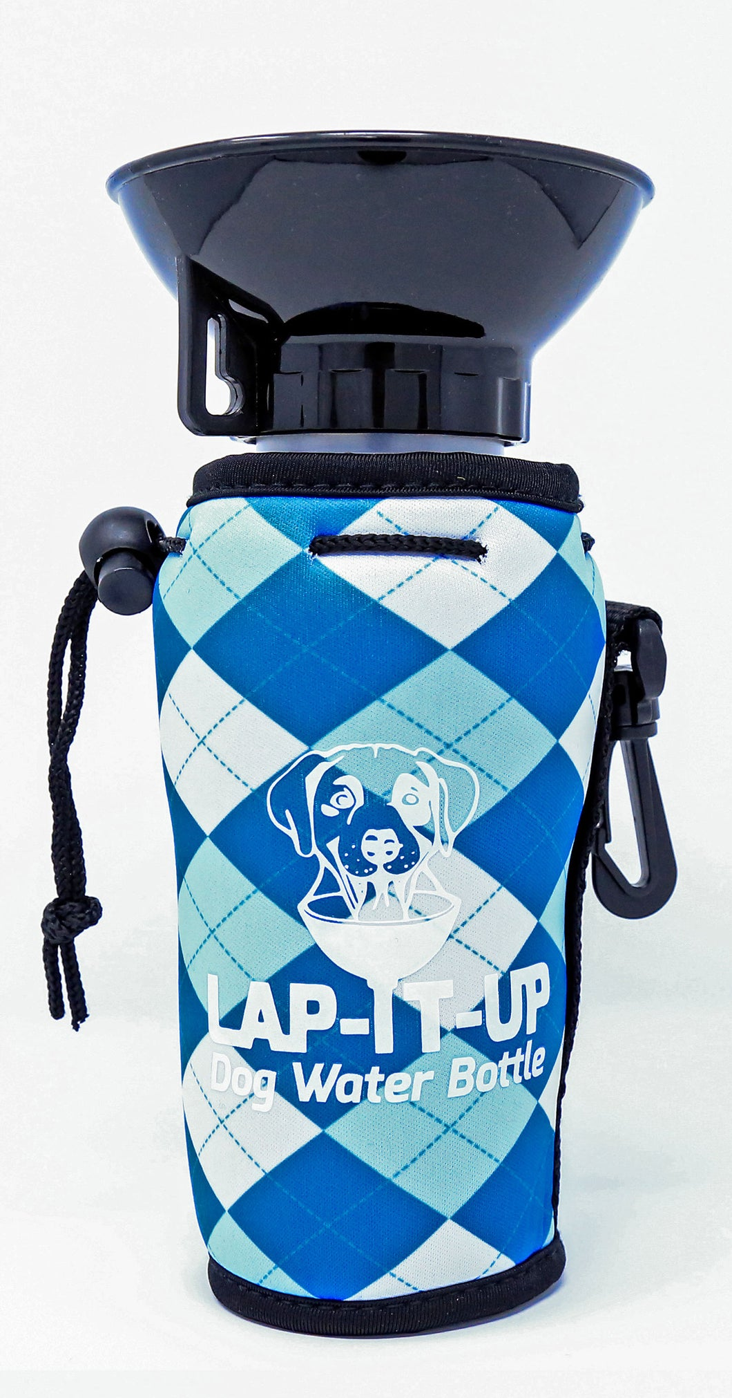 Lap-It-Up Dog Water Bottle - Plaid - Blue & White