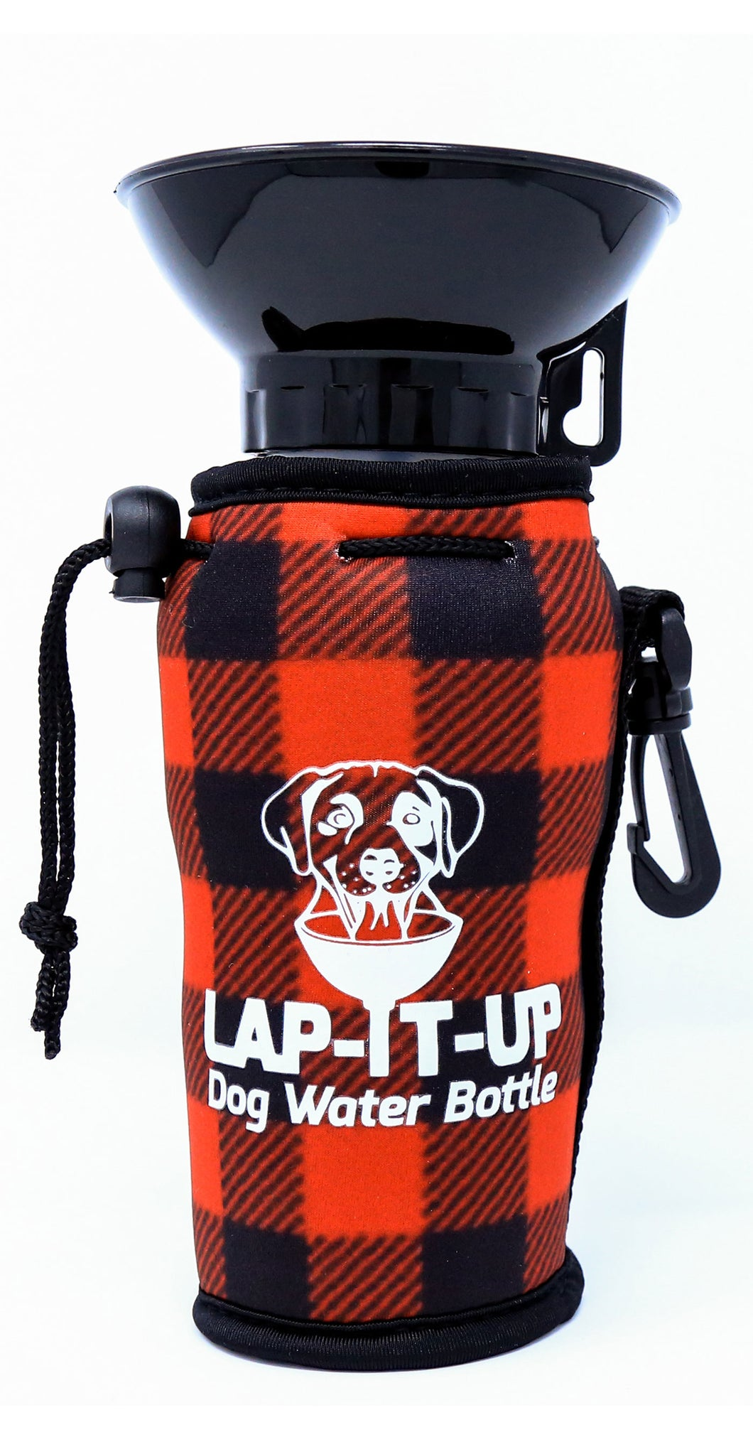 Lap-It-Up Dog Water Bottle - Plaid - Red & Black