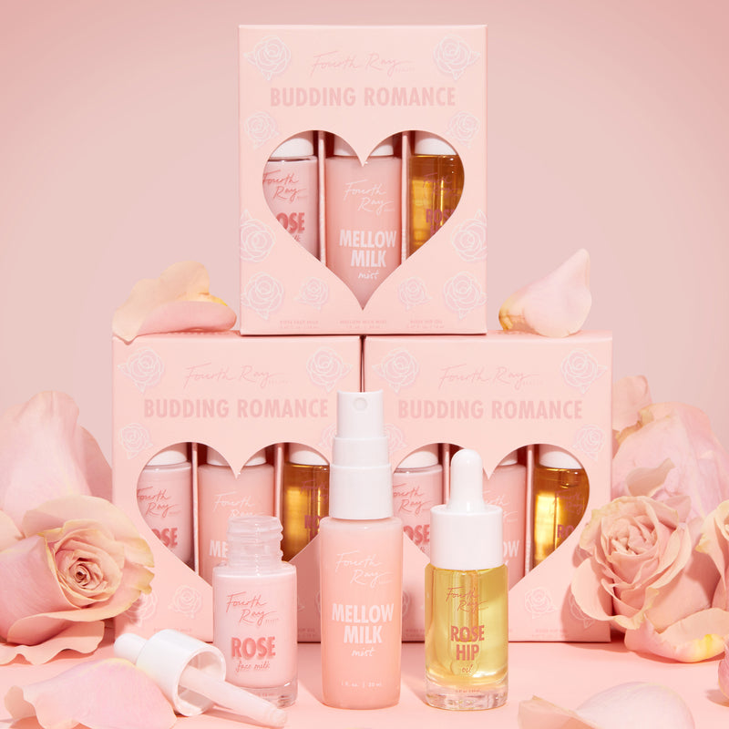 Budding Romance skincare kit includes Rose Face Milk Moisturizer, Mellow Milk Calming Mist, and Rose Hip Oil