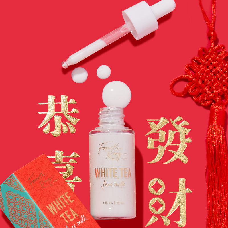 Fourth Ray Beauty Chinese New Year White Tea, Rice Milk and Hyaluronic Acid Face Milk Lightweight Moisturizer Booster that infuses skin with a softness and hydration