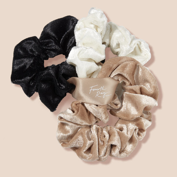 Velour Scrunchies Hair Tie Trio