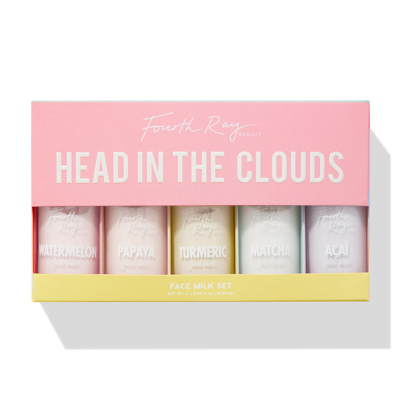Head in the Clouds Mini Face Milk Kit includes Watermelon, Papaya, Turmeric, Matcha, and Acai Facial Moisturizers