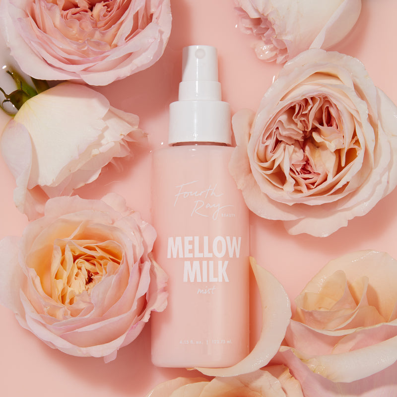 Mellow Milk Mist , floating in pink milk with oink roses