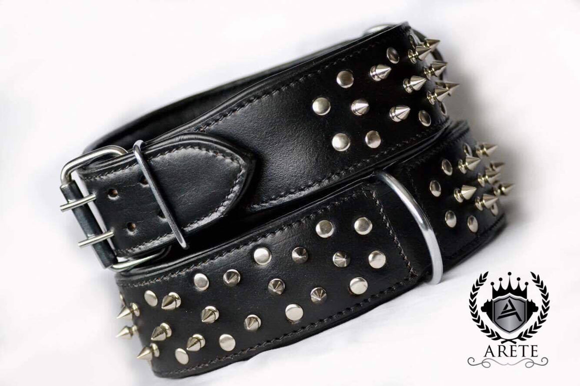 Cesar Buckskin Handmade Black Leather Collar