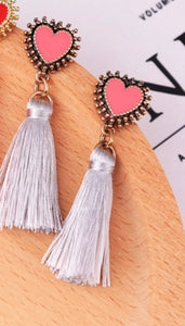 Pink Heart French Fringe Earrings