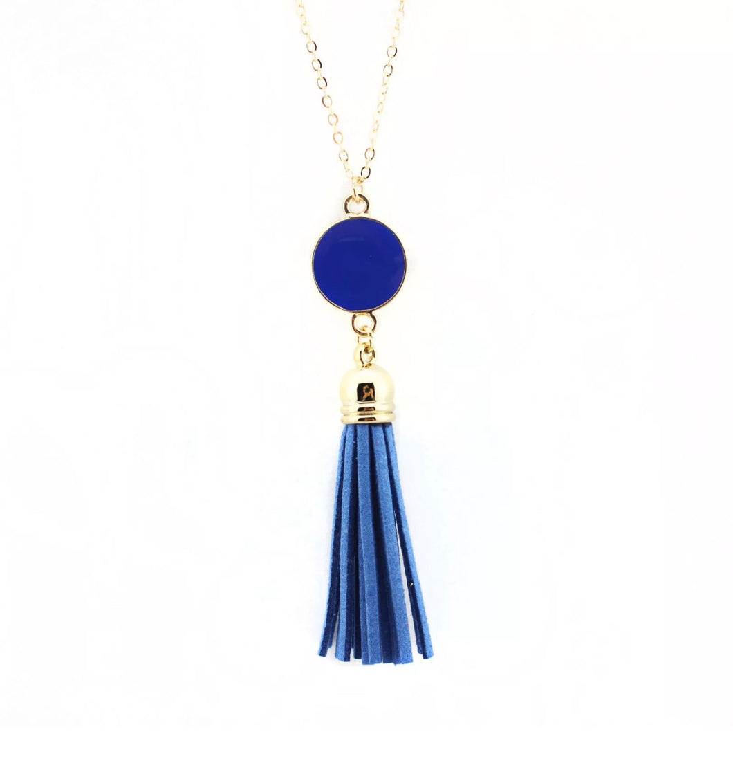 Dazzling French Fringe Necklace Blue