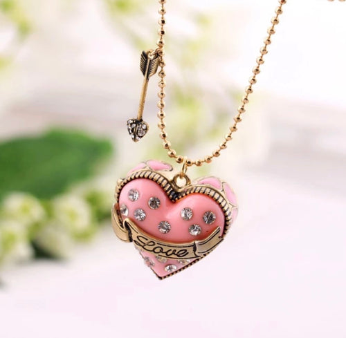 Swarovski Pink Box Of Love Charm Necklace