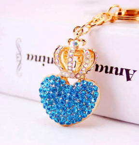 Crowned Blue Purse Charm Keychain