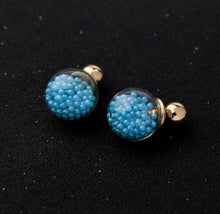 Floating Blue Baubles Two Sided Earrings