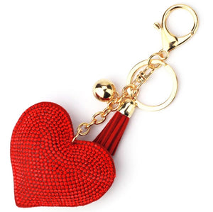 Red Heart Purse Charm Keychain